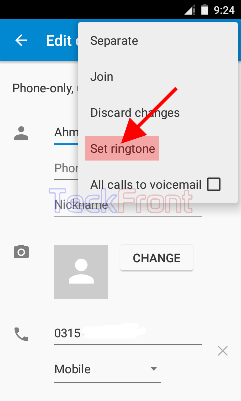 Assign ringtone to contact android