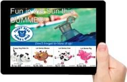 tablet showing sales flyer
