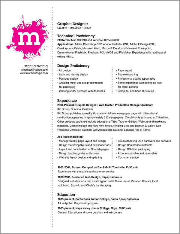 good creative internship cv example