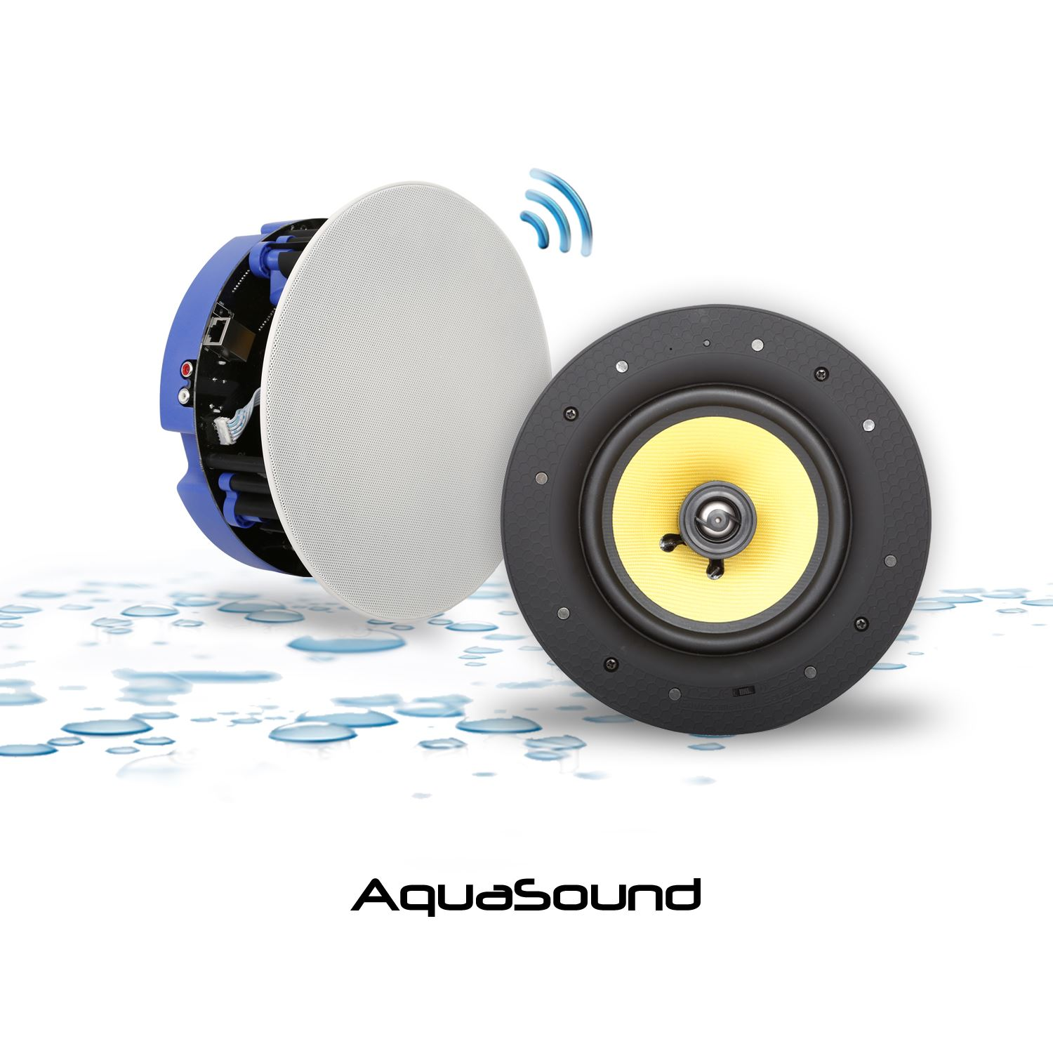 Badkamer 12v Of 230v Speakerset Aquasound Move Bluetooth 4 Wit 21cm 70 Watt 230v
