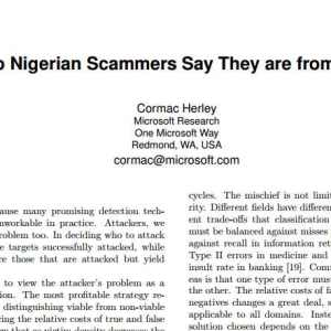 """""""Why do Nigerian Scammers Say They are from Nigeria?"""" Microsoft paper"""