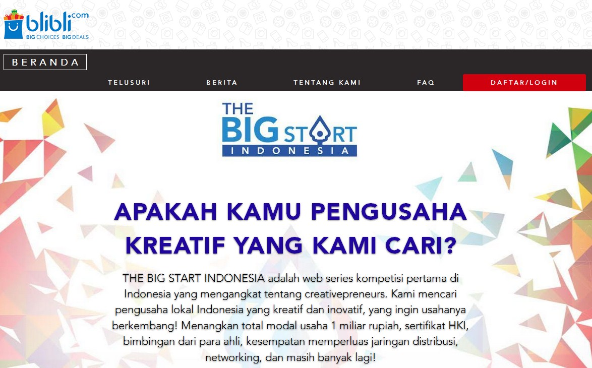 Blibli.com dan BEKRAF Adakan Kompetisi Creativepreneur Bernama The Big Start Indonesia