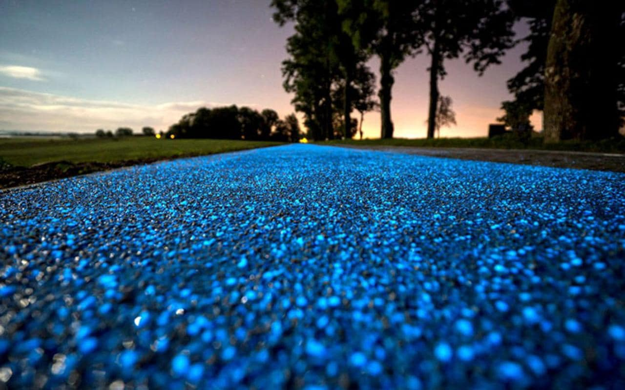 Eco Friendly Night Light Polands Beautiful Glow In The Dark Solar Powered Cycle Lane
