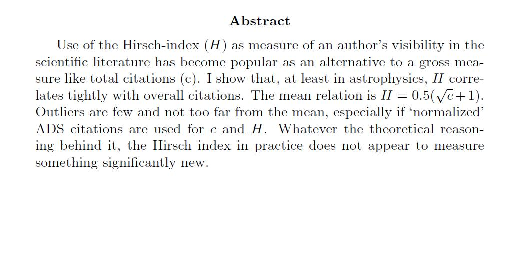 H Index In The Dark