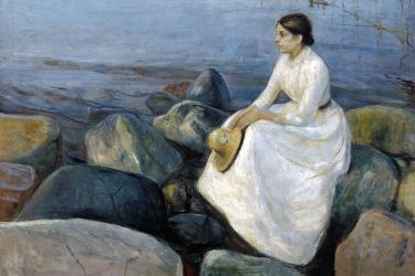 Edvard_Munch_-_Summer_night,_Inger_on_the_beach_(1889)