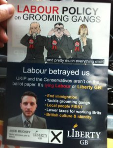 Far Right Nationalist Group, Liberty GB distributing inflammatory material in Batley & Spen