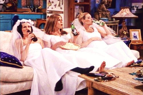 iconic, Friends, scenes, show, hilarious, Ross, wedding, Emily, Joey, Chandler, Phoebe, Tag, Rachel, Monica, Omnipotent, married, magic, hungry, pizza, care, wedding dress, laughter
