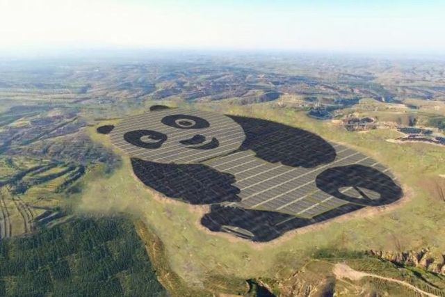 Kung Fu Panda, Panda, Datong, China, Power plant, solar, China Merchants New Energy Group, 248-acre, shape, Po, energy, animal, monocrystalline, silicon, snopes, Mickey Mouse, heart, Orlando, France
