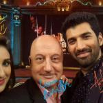 Parineeti and Aditya Kapoor in a selfie moment with Anupam JI