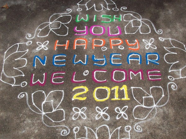 January 1 2011 by teluguabhiruchulu. 1600 x 1200.Happy New Year Rangoli Designs