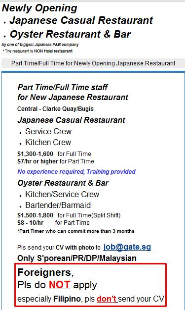 PHOTO Job ad with disclaimer \u2013 Foreigners do not apply, especially