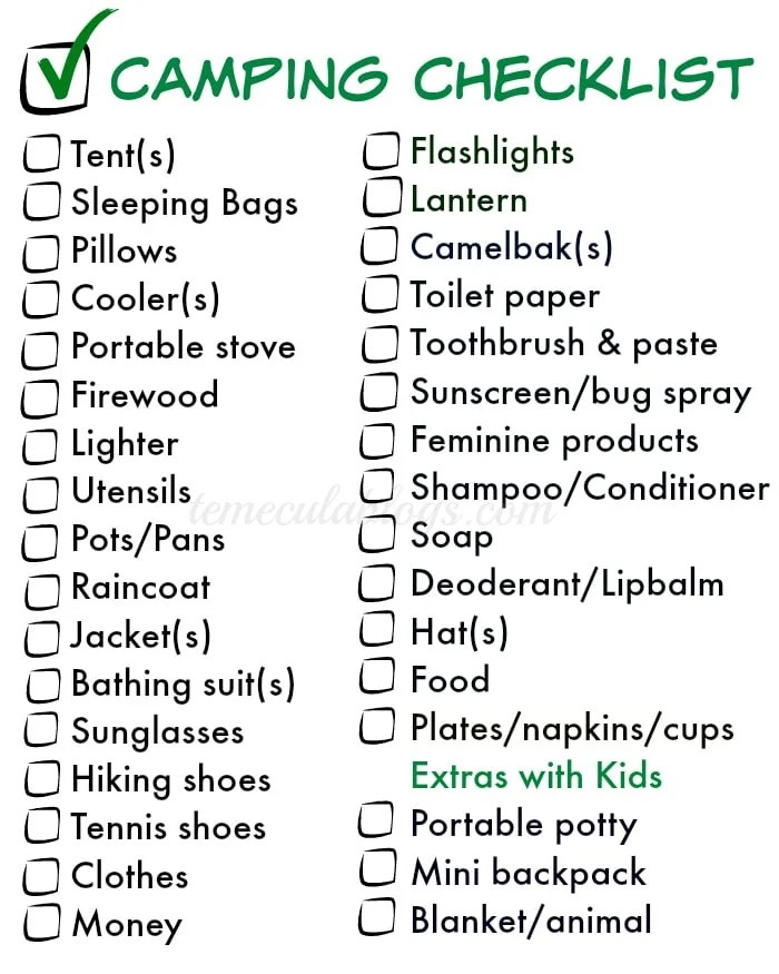 Things to Pack for Camping · The Typical Mom