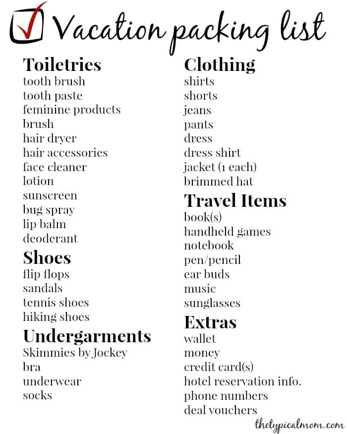 Vacation Packing List · The Typical Mom - Vacation Packing List Printable