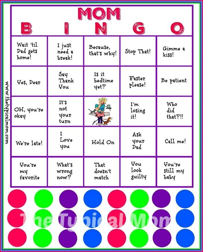 Mom Bingo Printable · The Typical Mom