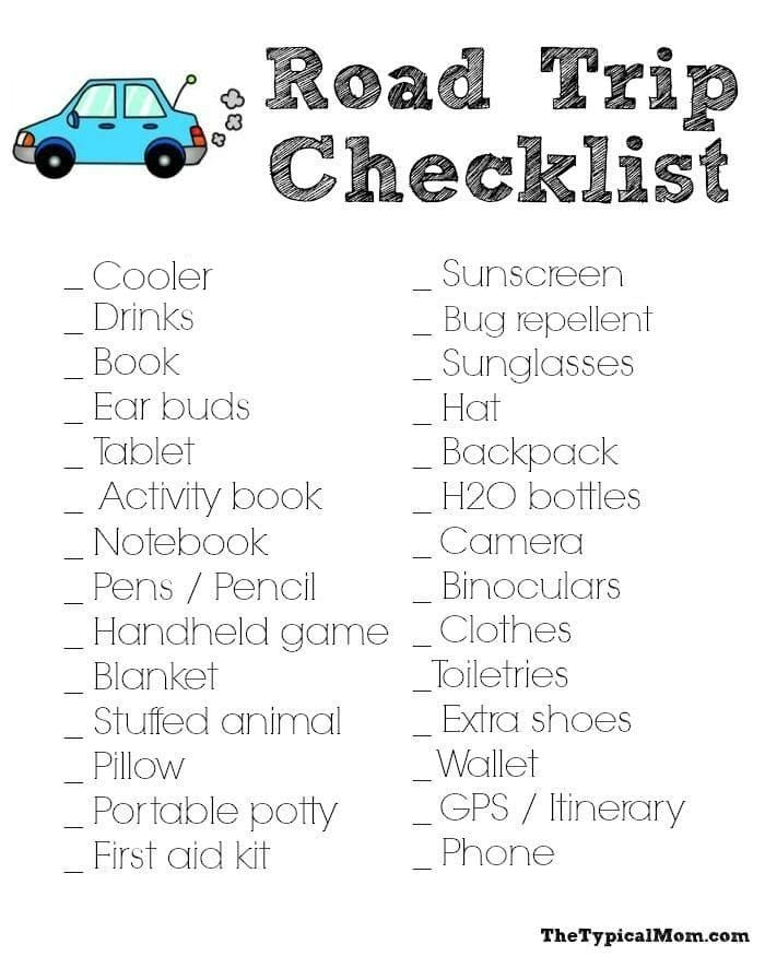 Road Trip Packing List · The Typical Mom - Vacation Packing List Printable