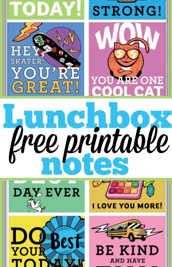 Free Printable Lunchbox Notes · The Typical Mom
