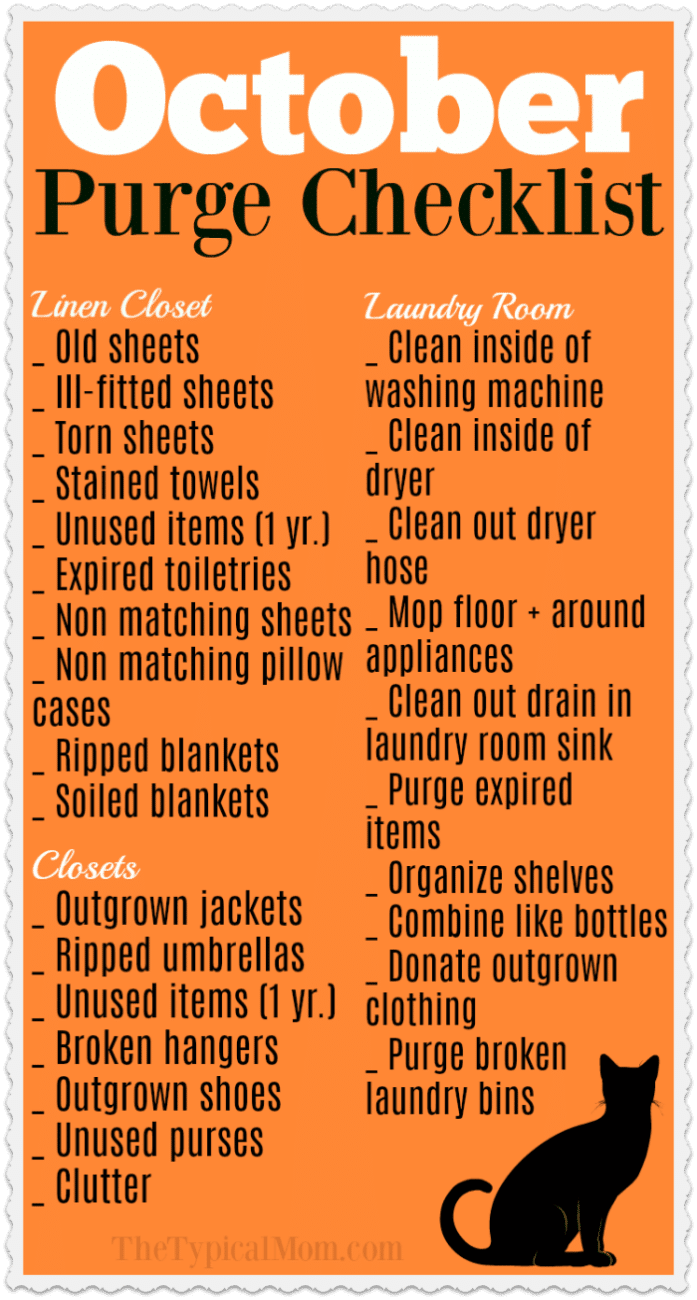 checklist for cleaning a house