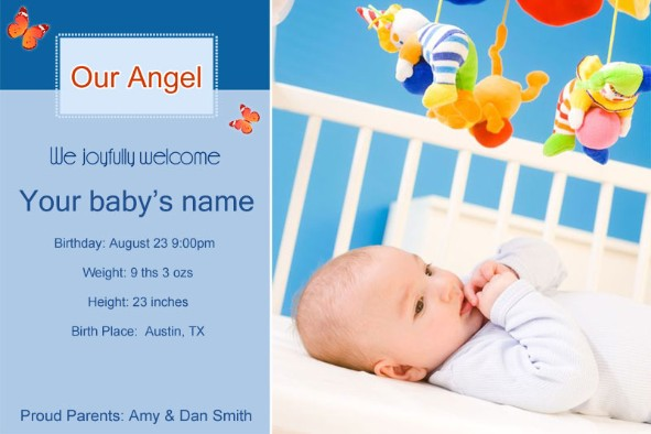 Free photo templates download - Baby Birth Announcement