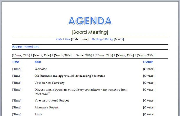 best meeting agenda template - board meeting agenda template