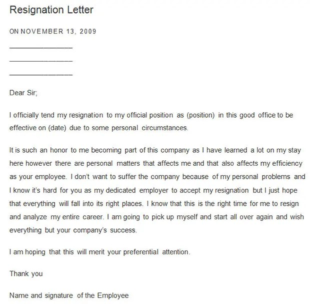 Resignation Letter Demo | Resume Samples Retail Sales Associate