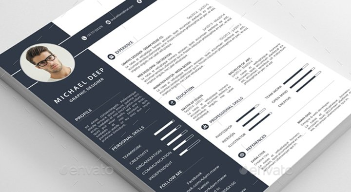 template cv illustrator technicien