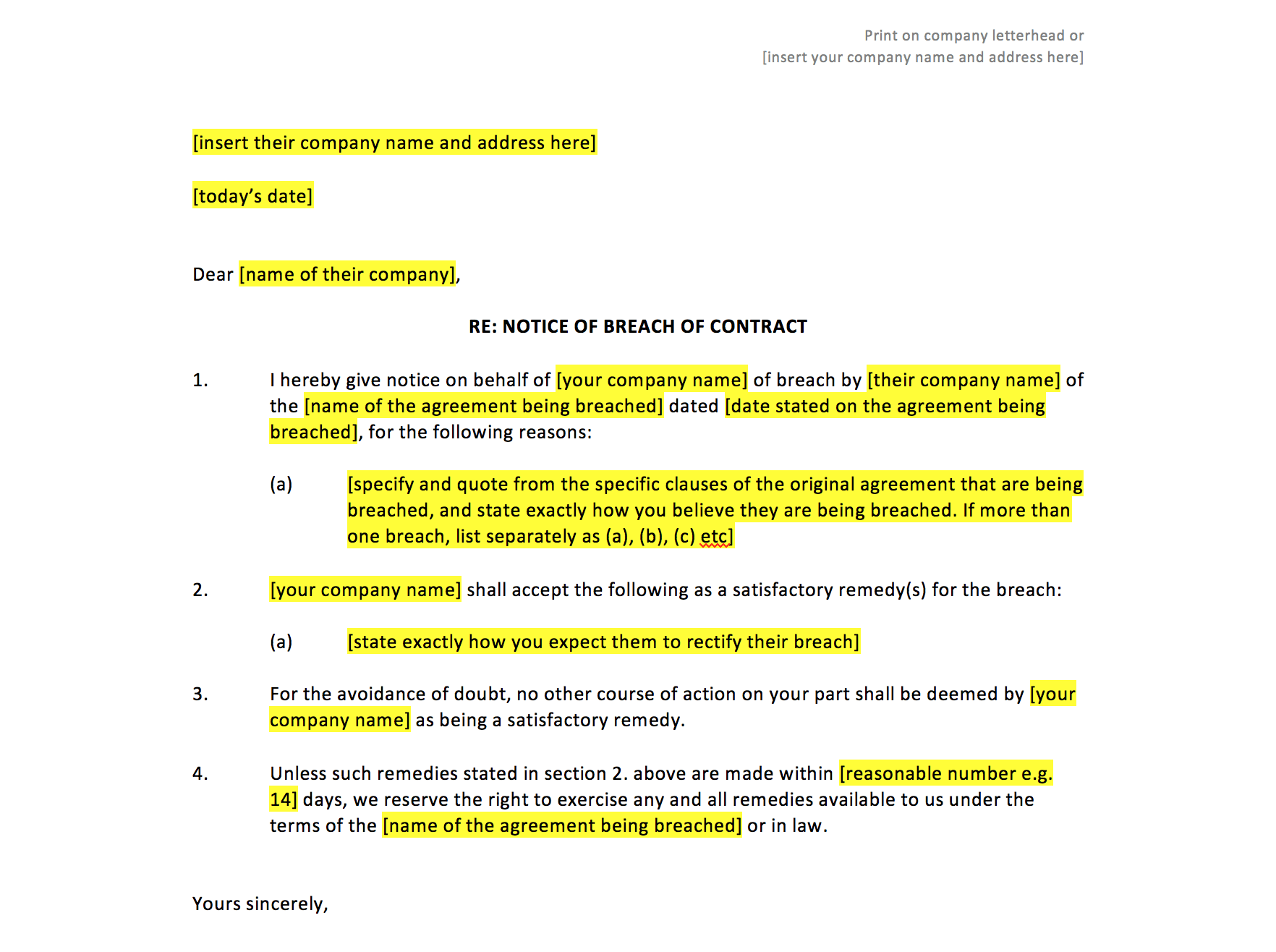 Breach Of Contract Notice Sample Letter Rocket Lawyer Breach Of Contract Notice Template – Uk Template