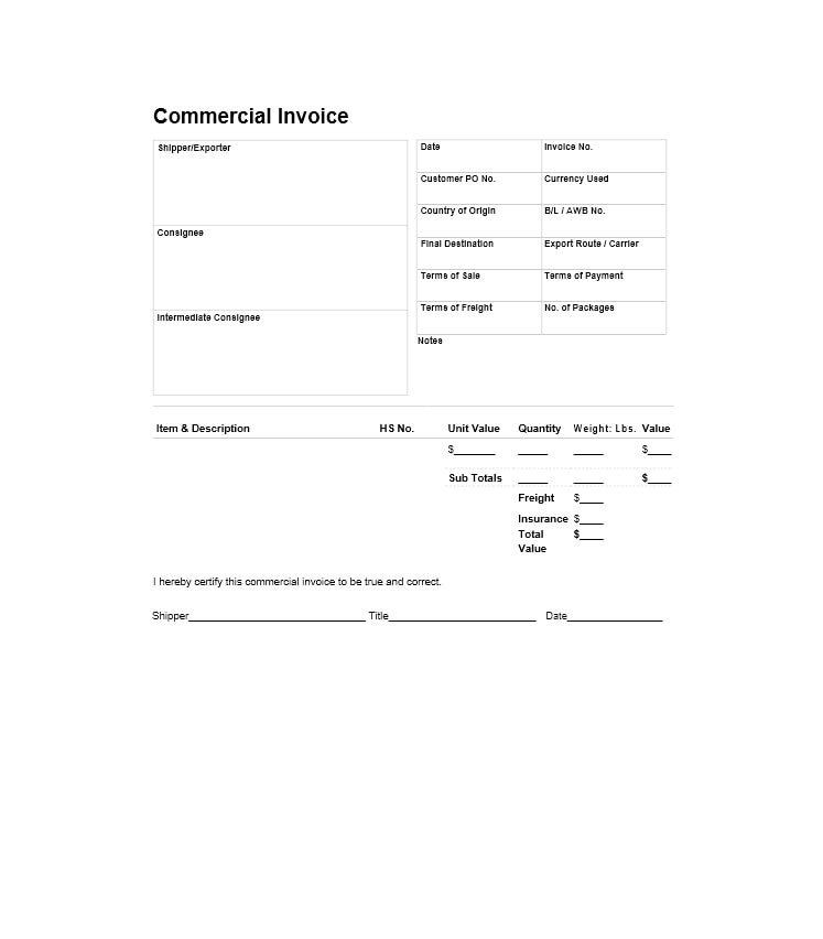 44 Blank Commercial Invoice Templates PDF, Word - Template Archive