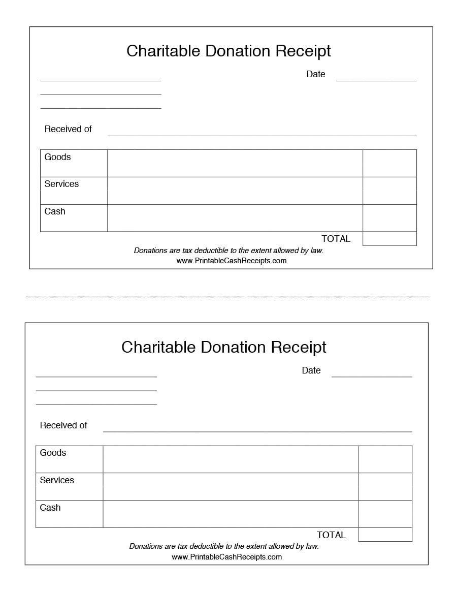 receipt for donation template