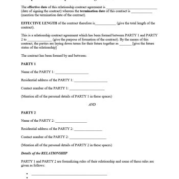 20+ Relationship Contract Templates  Relationship Agreements