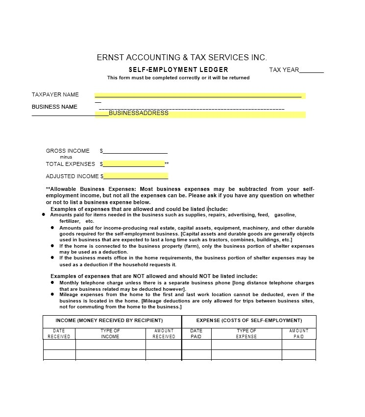 Self-Employment Ledger 40 FREE Templates  Examples