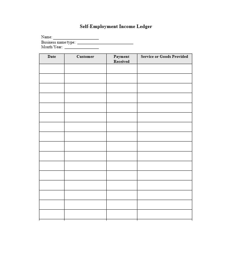 Self-Employment Ledger 40 FREE Templates  Examples - business ledger example