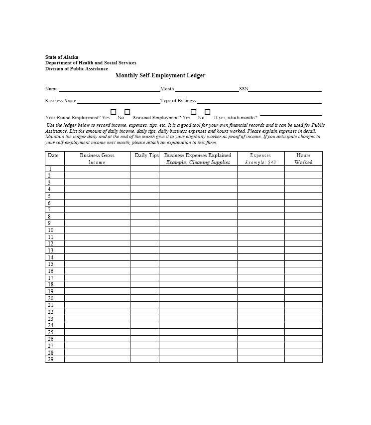 self employment ledger template
