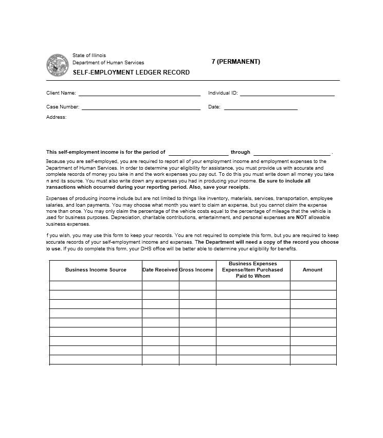Self-Employment Ledger 40 FREE Templates  Examples - business expenses form template