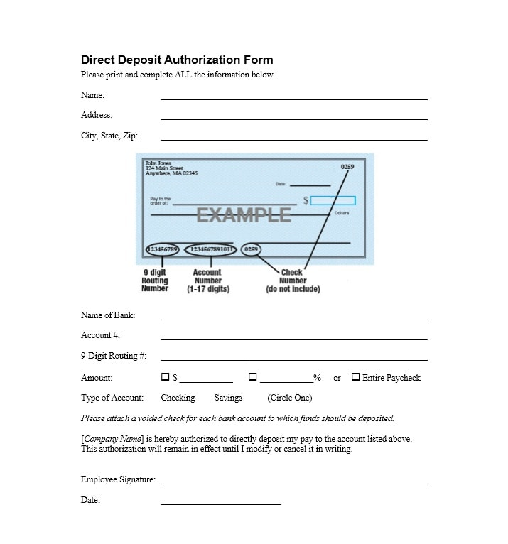 47 Direct Deposit Authorization Form Templates - Template Archive - direct deposit authorization form example