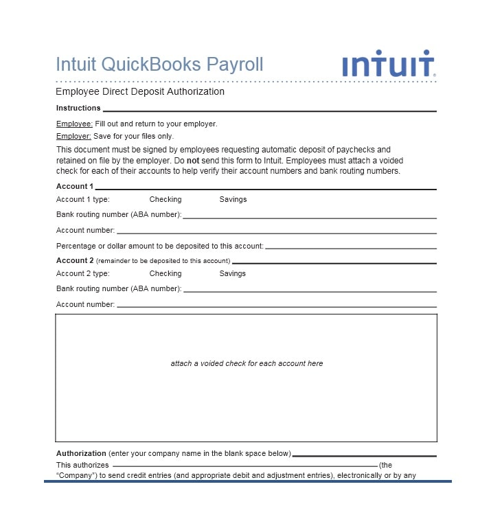 47 Direct Deposit Authorization Form Templates - Template Archive - blank payroll form