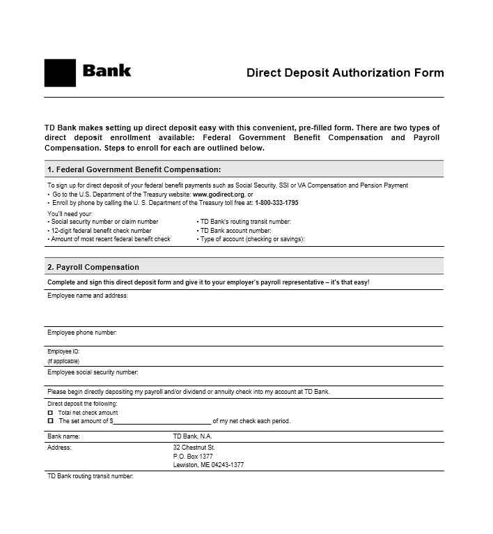 47 Direct Deposit Authorization Form Templates - Template Archive - payroll form templates