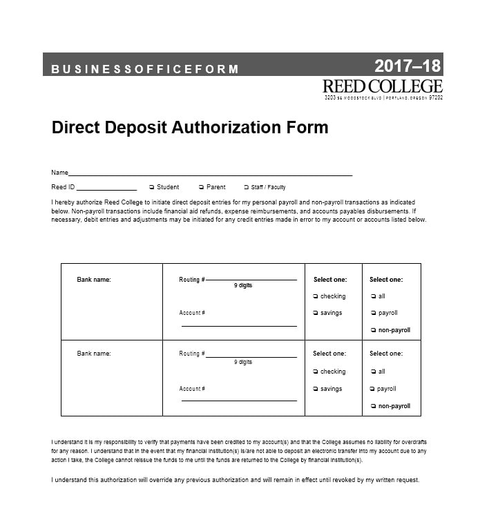 Direct Deposit Authorization Form - Design Templates