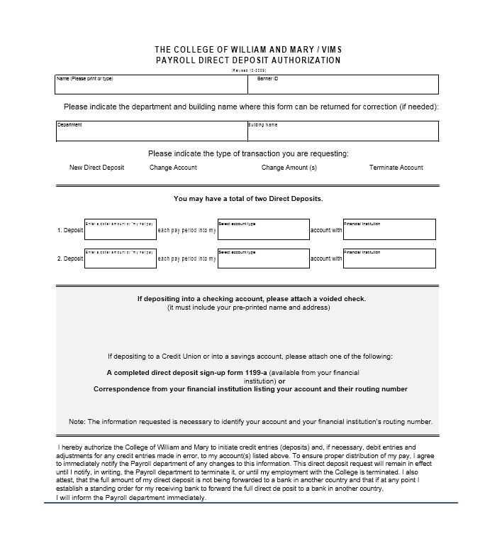 form 1199 - Barebearsbackyard - direct deposit authorization form example