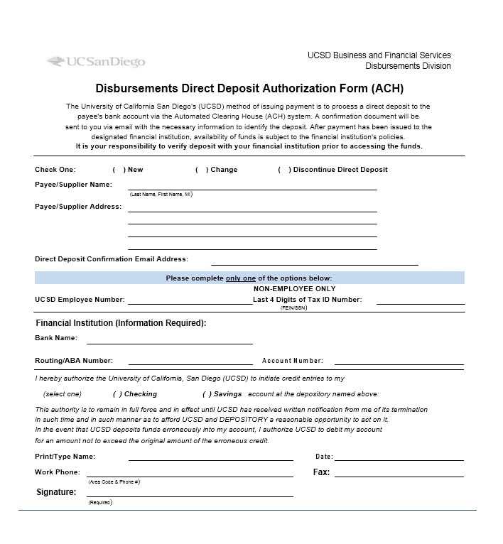 47 Direct Deposit Authorization Form Templates - Template Archive