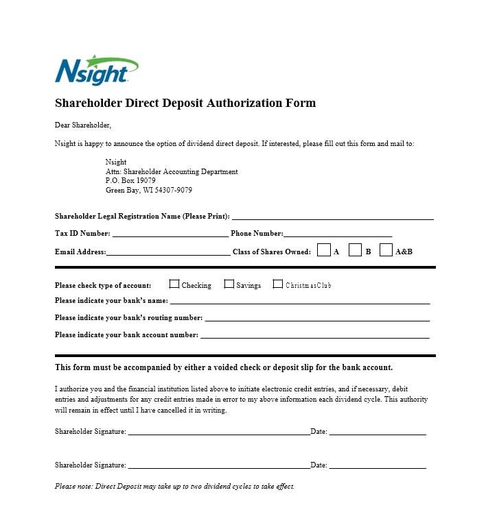 47 Direct Deposit Authorization Form Templates - Template Archive - direct debit form