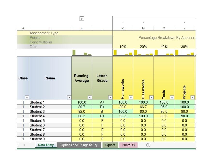 student gradebook template - Jolivibramusic - grade book template
