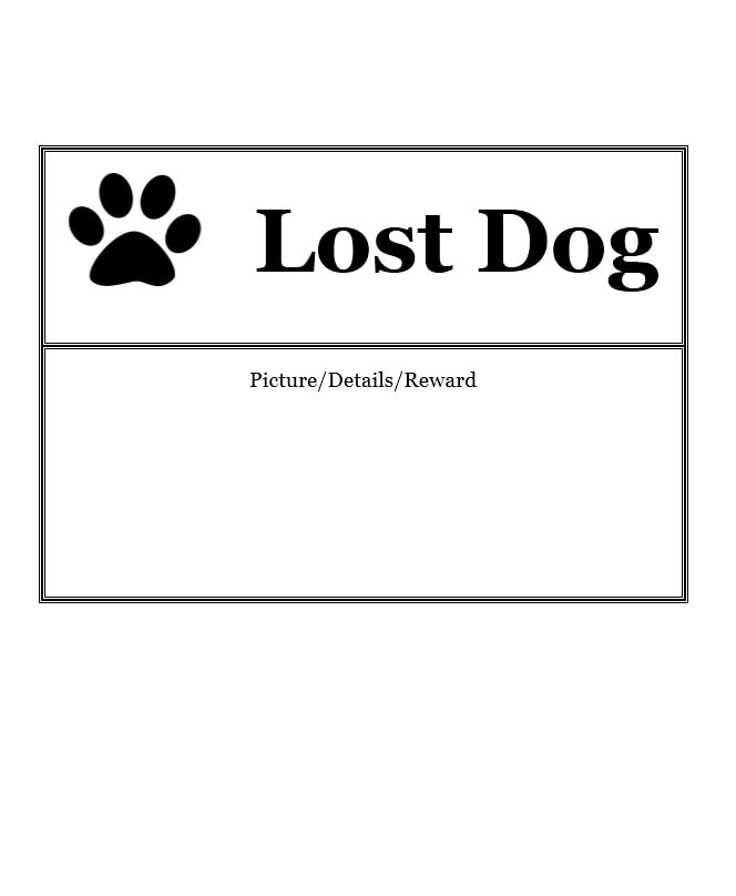Lost Dog Templates Printable