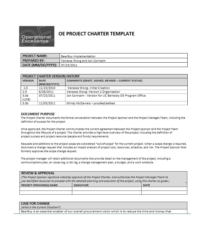 40 Project Charter Templates  Samples Excel, Word - Template Archive