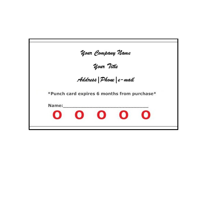 30 Printable Punch / Reward Card Templates 101 Free - food tickets template