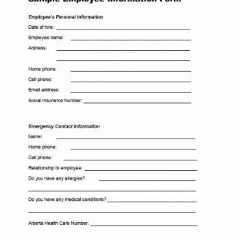 47 Printable Employee Information Forms (Personnel Information Sheets) - personal contact information form