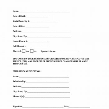 47 Printable Employee Information Forms (Personnel Information Sheets) - employee information form