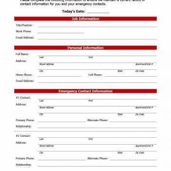 47 Printable Employee Information Forms (Personnel Information Sheets) - information sheets templates