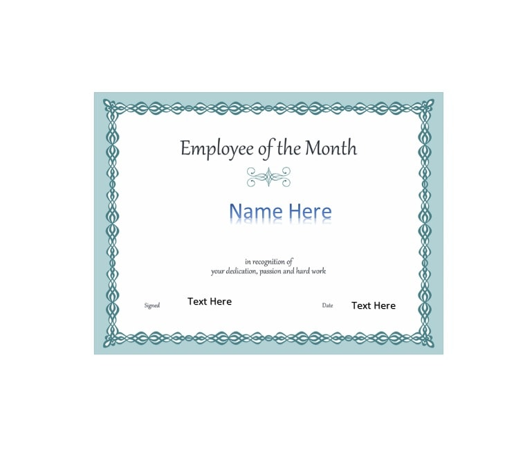 30+ Printable Employee of the Month Certificates - Template Archive