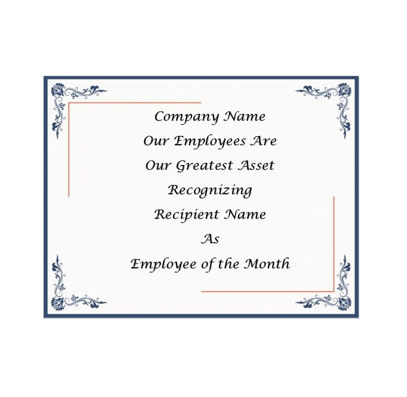 Stunning employee of the month certificate template free pictures employee of the month certificate template 100 images employee yadclub Image collections