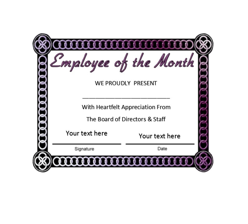 30+ Printable Employee of the Month Certificates - Template Archive - staff manual template